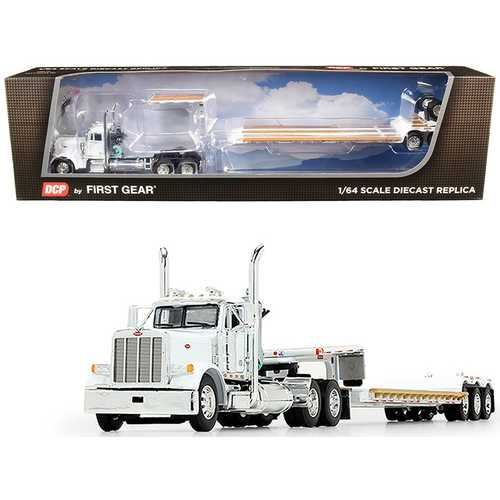 Peterbilt 379 Day Cab Tractor Truck with Fontaine Renegade Extendable Lowboy Trailer with Flip Axle White 1/64 Diecast Model by DCP/First Gear