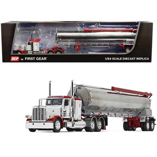 """Peterbilt 389 36"""" Flattop Sleeper Cab with Walinga Tandem-Axle Bulk Feed Trailer White and Chrome 1/64 Diecast Model by DCP/First Gear"""