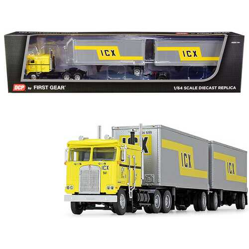 """Kenworth K100 COE Truck with Wabash Double Pup Trailers """"ICX"""" (Illinois California Express) Yellow and Silver 32th in a """"Fallen Flag Series"""" 1/64 Diecast Model by DCP/First Gear"""