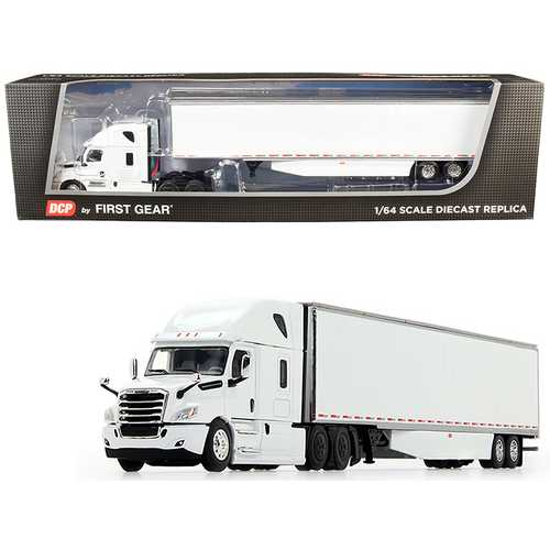 2018 Freightliner Cascadia High-Roof Sleeper Cab with 53' Utility Dry Goods Trailer with Side Skirts White 1/64 Diecast Model by DCP/First Gear