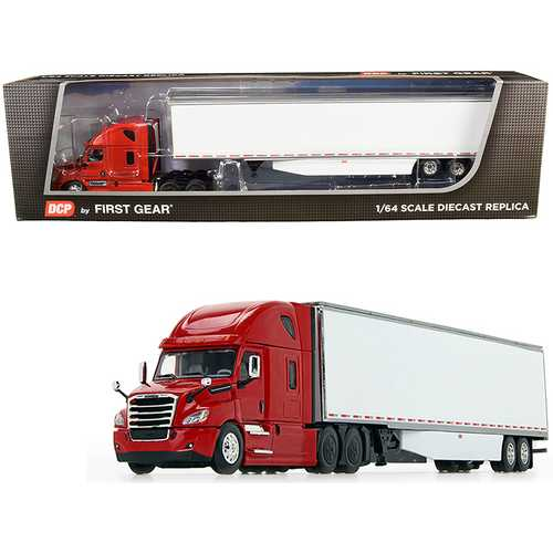2018 Freightliner Cascadia High-Roof Sleeper Cab with 53' Utility Dry Goods Trailer with Side Skirts Red and White 1/64 Diecast Model by DCP/First Gear