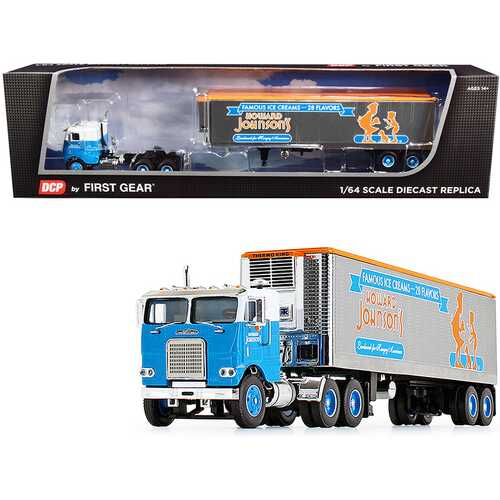 """White Freightliner COE with 40' Vintage Reefer Refrigerated Trailer """"Howard Johnson's"""" 34th in a """"Fallen Flag Series"""" 1/64 Diecast Model by DCP/First Gear"""