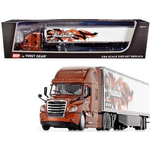 """2018 Freightliner Cascadia High-Roof Sleeper Cab with 53' Utility Reefer Refrigerated Trailer with Skirts """"Hirschbach"""" 1/64 Diecast Model by DCP/First Gear"""