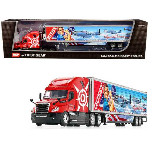 """2018 Freightliner Cascadia High-Roof Sleeper Cab with 53' Wabash Reefer Refrigerated Trailer with Skirts """"Quest Trucking"""" 1/64 Diecast Model by DCP/First Gear"""