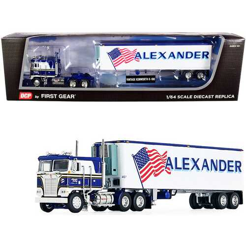 """Kenworth K100 COE Flattop with 40' Vintage Reefer Refrigerated Trailer """"Alexander Trucking"""" Blue and White 36th in a """"Fallen Flag Series"""" 1/64 Diecast Model by DCP/First Gear"""