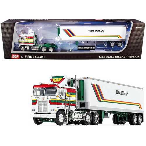 """Kenworth K100 COE Flattop with 40' Vintage Reefer Refrigerated Trailer """"Tom Inman Trucking"""" White with Stripes 35th in a """"Fallen Flag Series"""" 1/64 Diecast Model by DCP/First Gear"""