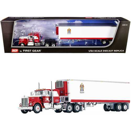 """Kenworth W900A with 36"""" Flattop Sleeper Cab and 40' Vintage Reefer Refrigerated Trailer """"C.R. England"""" Red and White 1/64 Diecast Model by DCP/First Gear"""