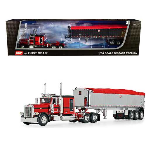 """Peterbilt 389 with 63"""" Flattop Sleeper Cab and MAC Coal End Dump Framed Tri-Axle Trailer with Tarp Red and Chrome 1/64 Diecast Model by DCP/First Gear"""