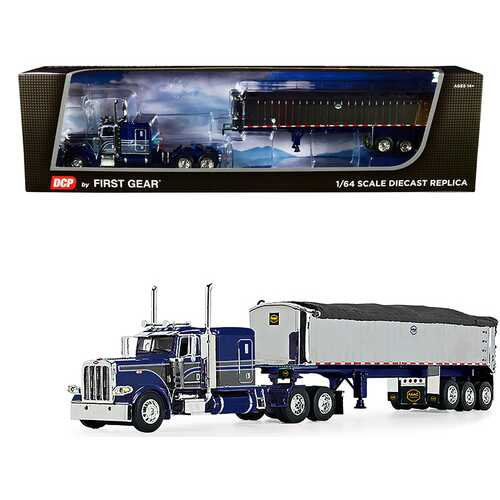 """Peterbilt 389 with 63"""" Flattop Sleeper Cab and MAC Coal End Dump Framed Tri-Axle Trailer with Tarp Blue and Chrome 1/64 Diecast Model by DCP/First Gear"""