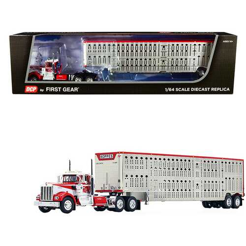 """Kenworth W900A Day Cab with Wilson Silver Star Livestock Tandem-Axle Trailer """"Koppes Truck Line"""" Red and White 1/64 Diecast Model by DCP/First Gear"""