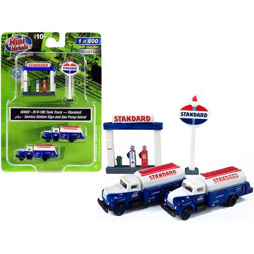 """IH R-190 Tanker Trucks 2 pieces Blue and White with Service Station Sign and Gas Pump Island """"Standard"""" 1/160 (N) Scale Models by Classic Metal Works"""