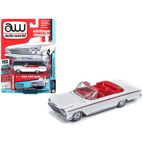 """1962 Chevrolet Impala Open Convertible White with Red Interior """"Vintage Muscle"""" Limited Edition to 4,128 pieces Worldwide 1/64 Diecast Model Car by Autoworld"""