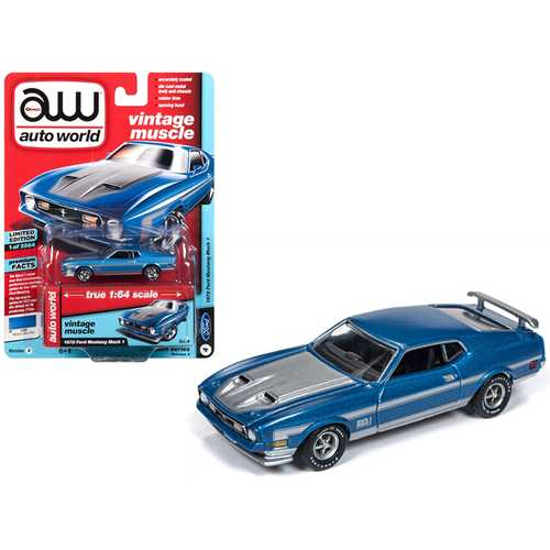 "1972 Ford Mustang Mach 1 Medium Blue Poly with Silver Stripes ""Vintage Muscle"" Limited Edition to 3,984 pieces Worldwide 1/64 Diecast Model Car by Autoworld"