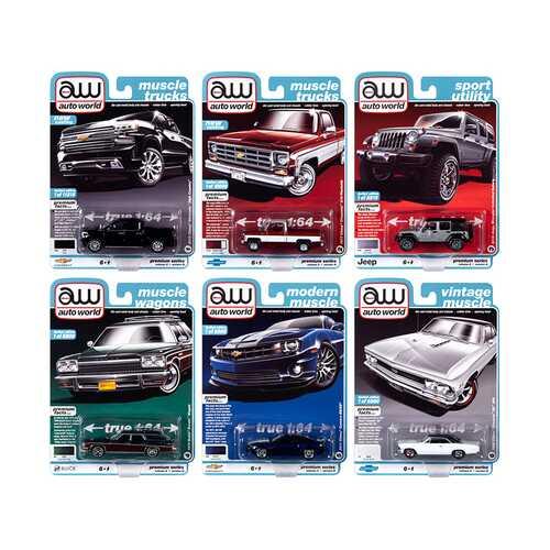 Autoworld Muscle Cars Premium 2020 Release 2, Set B of 6 pieces 1/64 Diecast Model Cars by Autoworld