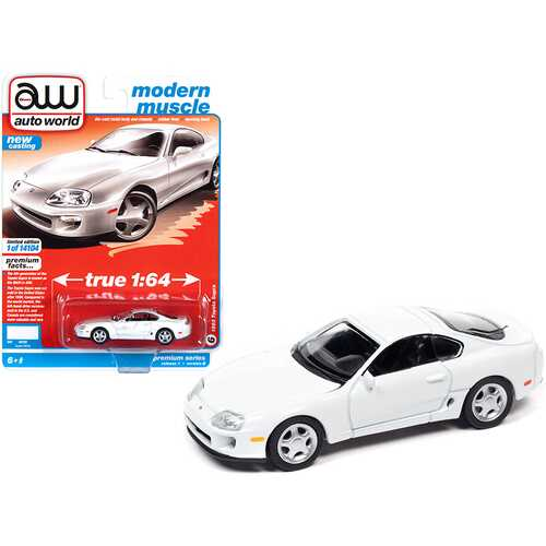 "1993 Toyota Supra Super White ""Modern Muscle"" Limited Edition to 14104 pieces Worldwide 1/64 Diecast Model Car by Autoworld"