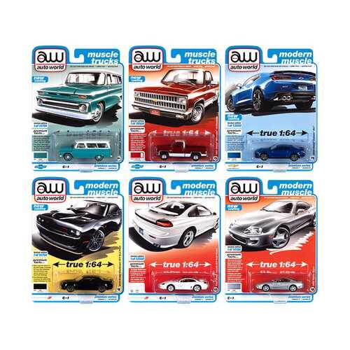 Autoworld Premium 2021 Set A of 6 pieces Release 1 1/64 Diecast Model Cars by Autoworld