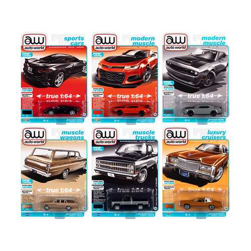 Autoworld Premium 2021 Set A of 6 pieces Release 2 1/64 Diecast Model Cars by Autoworld
