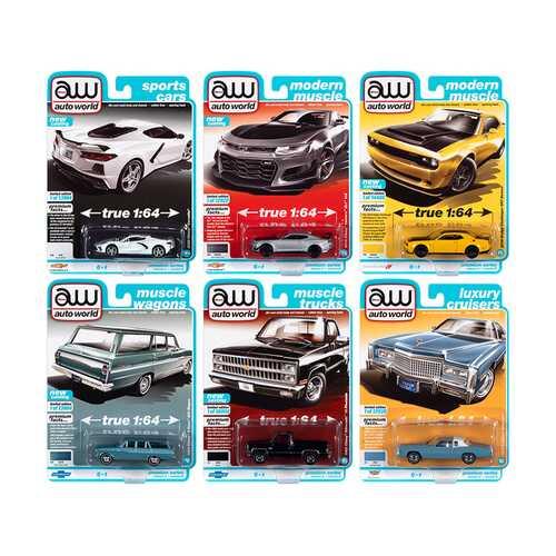 Autoworld Premium 2021 Set B of 6 pieces Release 2 1/64 Diecast Model Cars by Autoworld