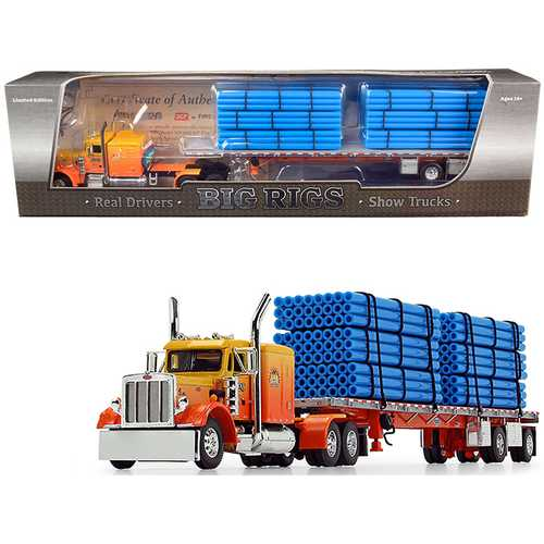"""Peterbilt 359 63"""" Sleeper Cab with Wilson Roadbrute Spread-Axle Trailer with 6 Blue Pipe Loads """"Kelsey's Trucking """"Sunrise Express"""" 1st in a """"Big Rigs"""" Series 1/64 Diecast Model by DCP"""