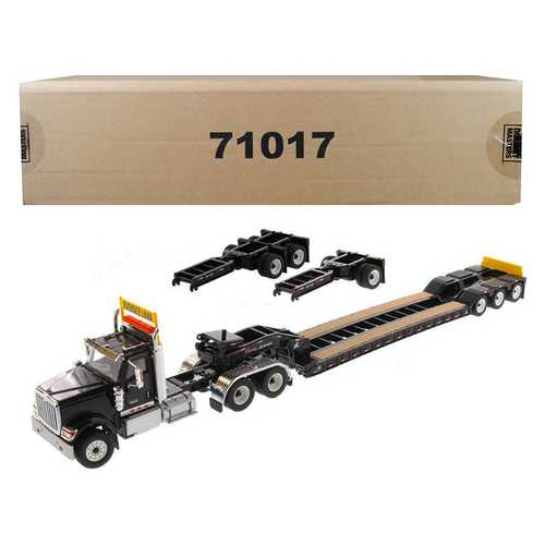 International HX520 Tandem Tractor Black with XL 120 Lowboy Trailer 1/50 Diecast Model by Diecast Masters