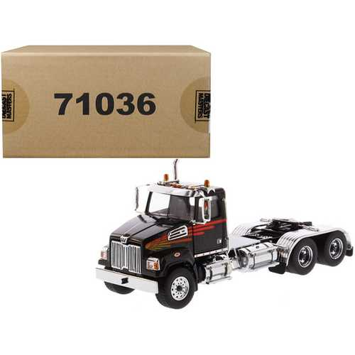 Western Star 4700 SF Tandem Day Cab Tractor Metallic Black 1/50 Diecast Model by Diecast Masters