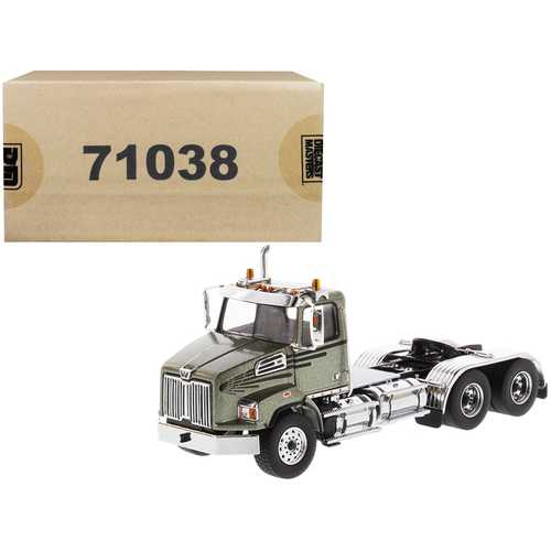 Western Star 4700 SB Tandem Day Cab Tractor Metallic Olive Green 1/50 Diecast Model by Diecast Masters