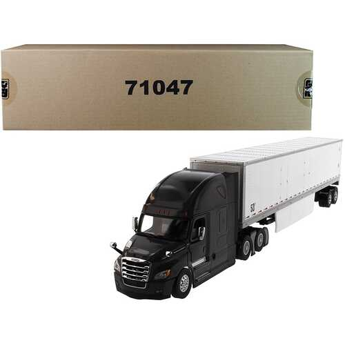 "Freightliner New Cascadia Sleeper Cab Black with 53' Dry Van Trailer White ""Transport Series"" 1/50 Diecast Model by Diecast Masters"