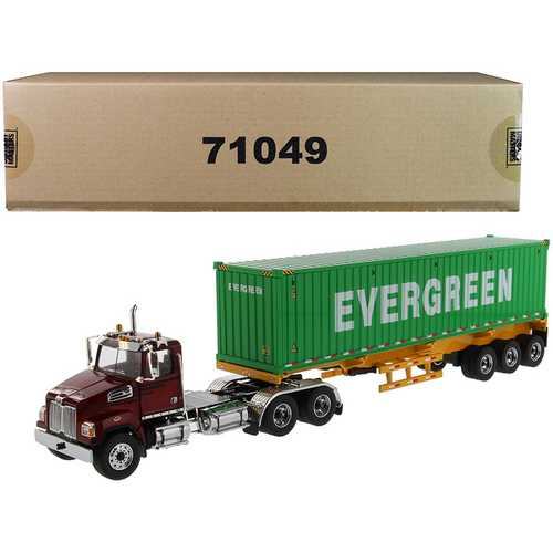 "Western Star 4700 SB Tandem Truck Tractor Metallic Red with Skeleton Trailer and 40' Dry Goods Sea Container ""EverGreen"" ""Transport Series"" 1/50 Diecast Model by Diecast Masters"
