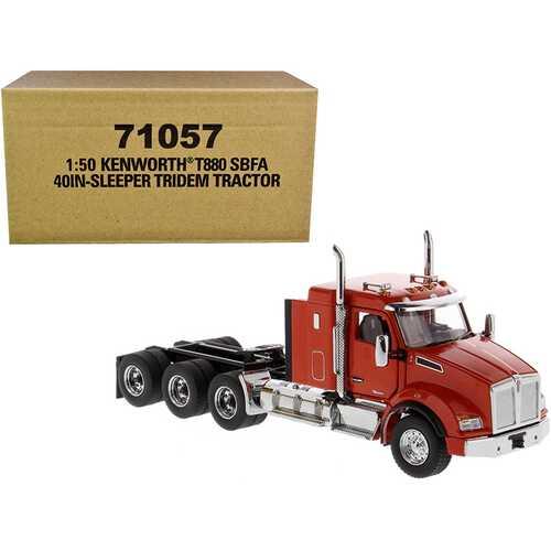 "Kenworth T880 SBFA 40"" Sleeper Cab Tridem Truck Tractor Orange 1/50 Diecast Model by Diecast Masters"