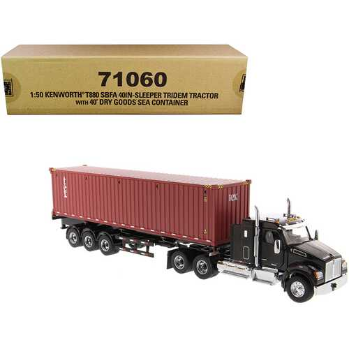 """Kenworth T880 SBFA 40"""" Sleeper Cab Tridem Truck Tractor Black Metallic with Flatbed Trailer and 40' Dry Goods Sea Container """"TEX"""" """"Transport Series"""" 1/50 Diecast Model by Diecast Master"""