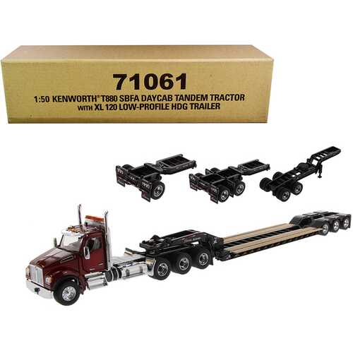 """Kenworth T880 SBFA Day Cab Tandem Tractor with XL 120 Low-Profile HDG Trailer with 2 Boosters and Jeep Radiant Red and Black """"Transport Series"""" 1/50 Diecast Model by Diecast Masters"""