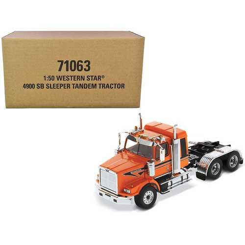"Western Star 4900 SB Tandem Sleeper Cab Truck Tractor Orange with Black Stripes ""Transport Series"" 1/50 Diecast Model by Diecast Masters"