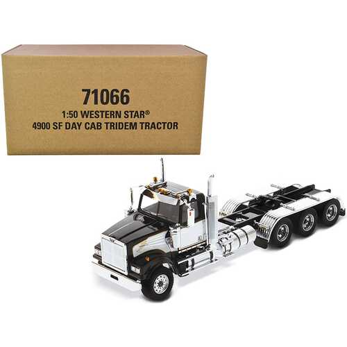 """Western Star 4900 SF Tridem Day Cab Truck Tractor Black """"Transport Series"""" 1/50 Diecast Model by Diecast Masters"""