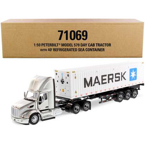 """Peterbilt 579 Day Cab Truck Tractor with Flatbed Trailer and 40' Refrigerated Sea Container """"Maersk"""" Legendary Silver and White """"Transport Series"""" 1/50 Diecast Model by Diecast Masters"""