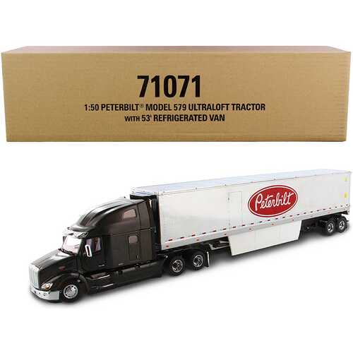 """Peterbilt 579 UltraLoft Truck Tractor with 53' Refrigerated Van Legendary Black and Chrome """"Transport Series"""" 1/50 Diecast Model by Diecast Masters"""
