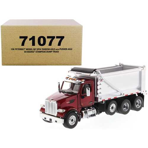 """Peterbilt 567 SFFA Tandem Axle with Pusher Axle OX Stampede Dump Truck Red and Chrome """"Transport Series"""" 1/50 Diecast Model by Diecast Masters"""
