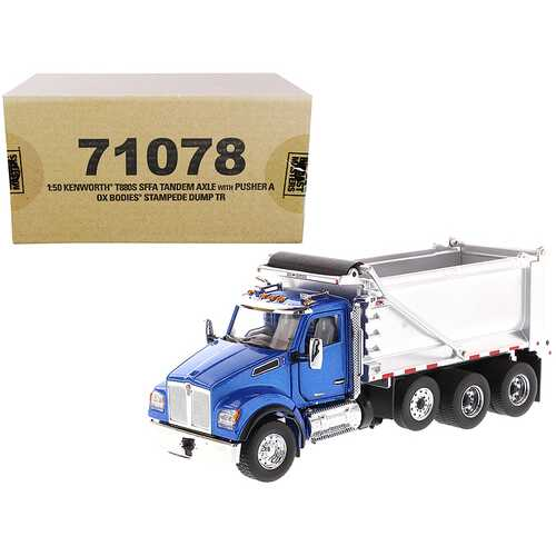 """Kenworth T880S SFFA Tandem Axle with Pusher Axle OX Stampede Dump Truck Blue and Chrome """"Transport Series"""" 1/50 Diecast Model by Diecast Masters"""