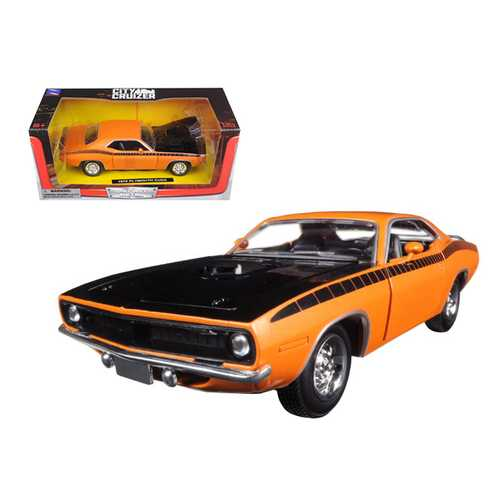 1970 Plymouth Cuda Orange with Black Hood and Stripes 1/24 Diecast Model Car by New Ray