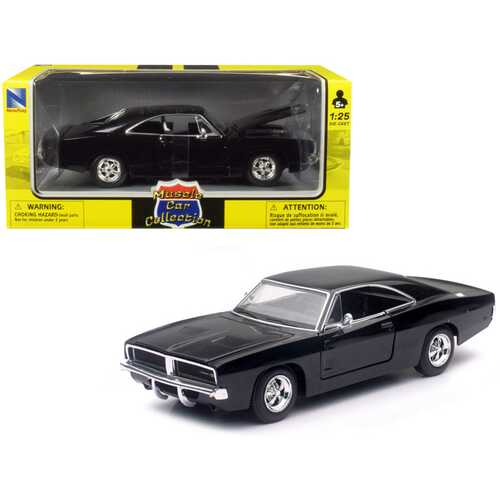 1969 Dodge Charger R/T Black 1/25 Diecast Model Car by New Ray