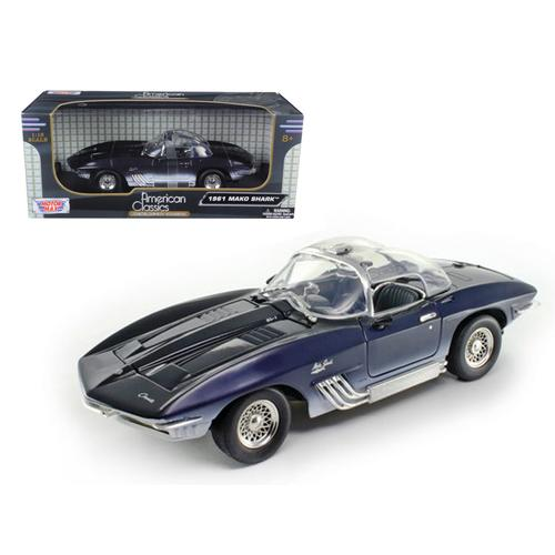 1961 Chevrolet Corvette Mako Shark Dark Blue 1/18 Diecast Model Car by Motormax