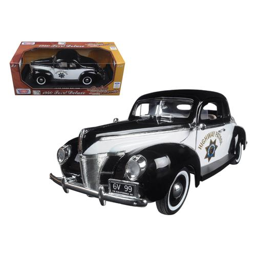 """1940 Ford Coupe Deluxe California Highway Patrol CHP """"Timeless Classics"""" 1/18 Diecast Model Car by Motormax"""