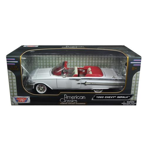 1960 Chevrolet Impala Convertible White 1/18 Diecast Model Car by Motormax