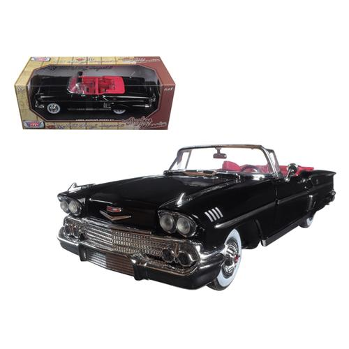 "1958 Chevrolet Impala Black ""Timeless Classics"" 1/18 Diecast Model Car by Motormax"