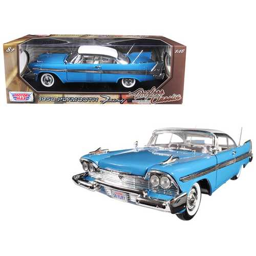 "1958 Plymouth Fury ""Timeless Classics"" Blue with White Top 1/18 Diecast Model Car by Motormax"