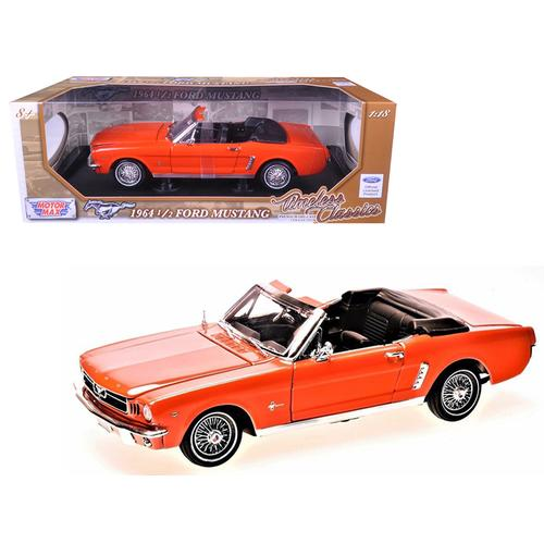 1964 1/2 Ford Mustang Convertible Orange Timeless Classics 1/18 Diecast Model Car by Motormax