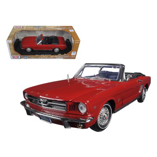 "1964 1/2 Ford Mustang Convertible Red ""Timeless Classics"" 1/18 Diecast Model Car by Motormax"