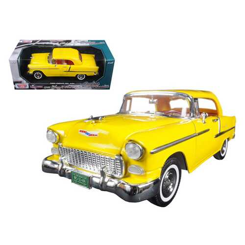 """1955 Chevrolet Bel Air Convertible Soft Top Yellow """"Timeless Classics"""" 1/18 Diecast Model Car by Motormax"""