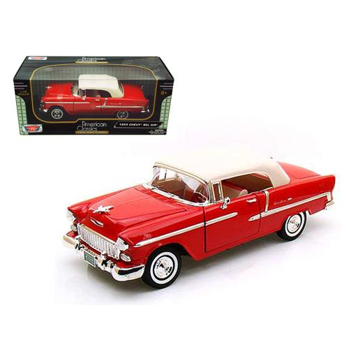 1955 Chevrolet Bel Air Convertible Soft Top Red 1/18 Diecast Car Model by Motormax