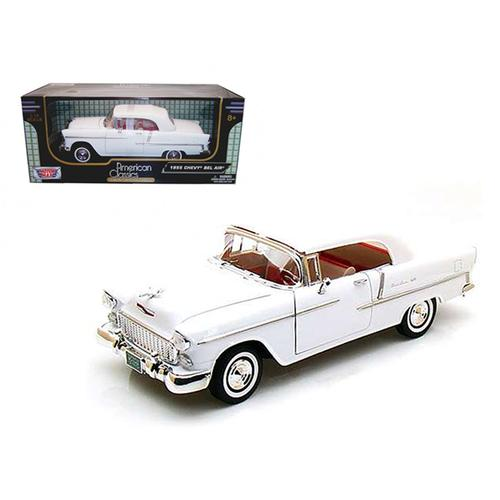1955 Chevrolet Bel Air Convertible Soft Top White 1/18 Diecast Car Model by Motormax