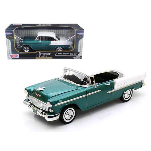 1955 Chevrolet Bel Air Hard Top Green 1/18 Diecast Car Model by Motormax
